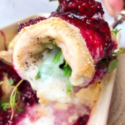 Chicken and Brie Rollatini with Blackberry Compote