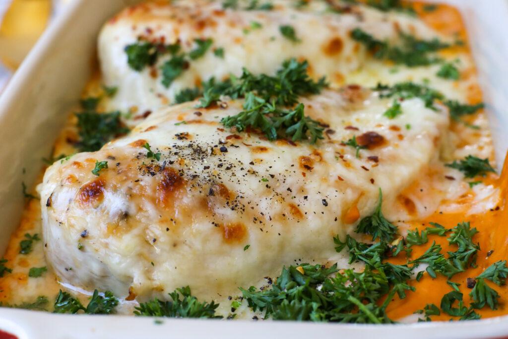 Baked Chicken with Creamy Cashew Sauce- Healthyish Foods