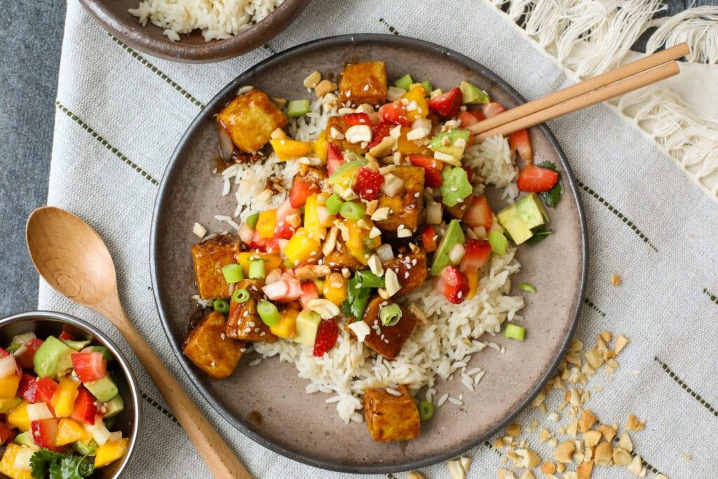 Crispy Tofu with Spicy Brown Sauce and Mango Salsa - Healthyish Foods