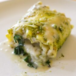 Plant Based Pesto Lasagna Roll-Ups with Ricotta Cheese and Bechamel Sauce - Healthyish Foods