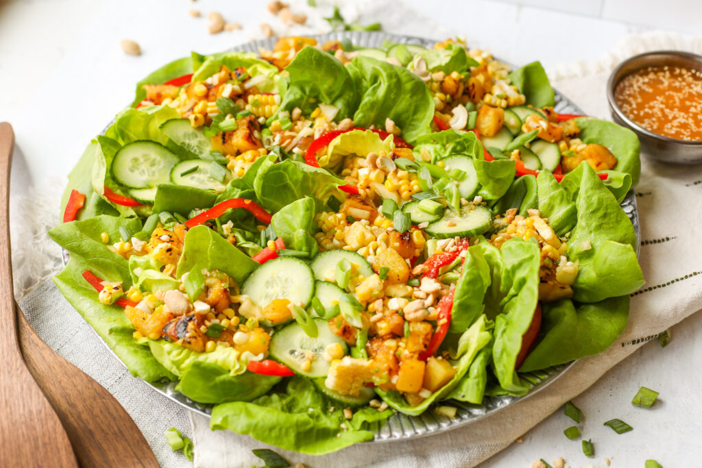Lettuce Cup Salad with Sesame Poppy Seed Vinaigrette