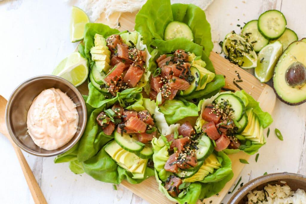 Tuna Poke Lettuce Cups – Healthyish Foods