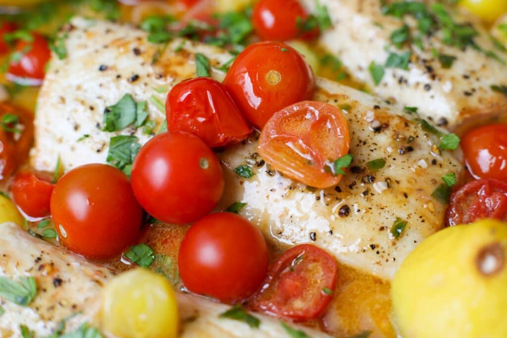 Mahi Mahi with Lemon Butter and Tomatoes – Healthyish Foods