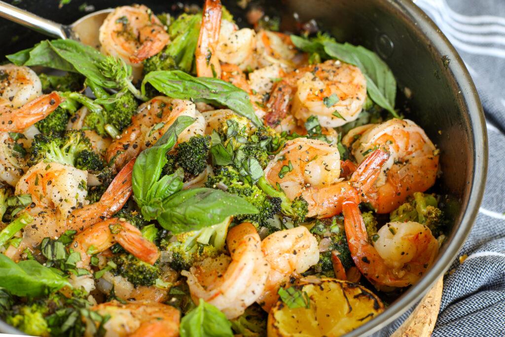 Lemon Pepper Shrimp with Roasted Broccoli – Healthyish Foods