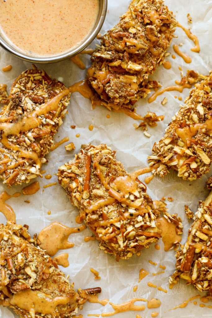 Plant-Based Pretzel Crusted Tofu with Spicy Mustard Sauce – Healthyish Foods