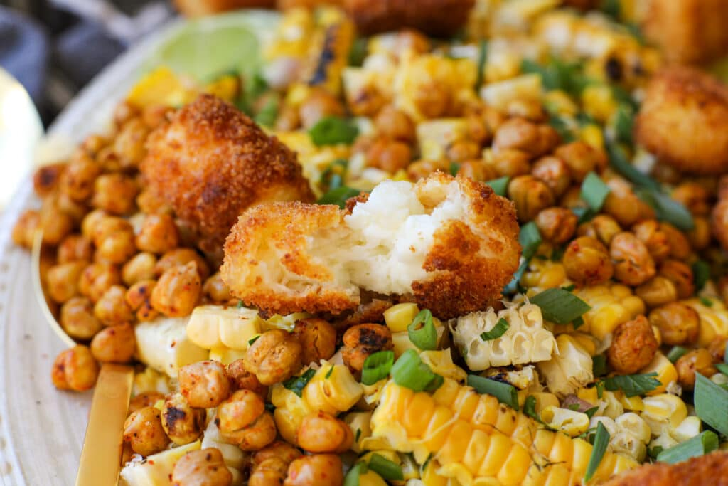 Grilled Corn and Tajin Roasted Chickpea Salad with Halloumi Croutons – Healthyish Foods