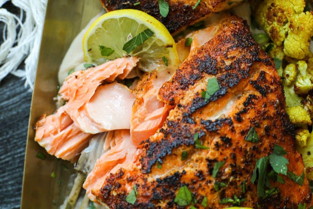 Blackened Salmon with White Bean Coconut Milk Puree – Healthyish Foods