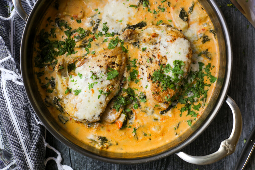 Roasted Chicken with Creamy Spinach & Artichokes – Healthyish Foods