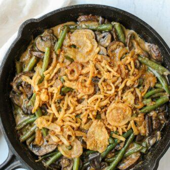 One-Pan Creamy Garlic Soy Green Bean and Mushroom Casserole – Healthyish Foods