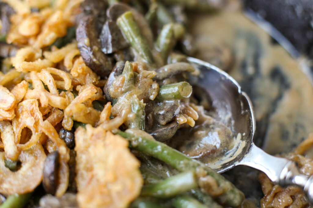 One-Pan Creamy Garlic Soy Green Bean and Mushroom Casserole – Healthyish Foods
