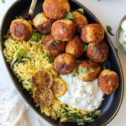 Greek Chicken Meatballs with Tzatziki Sauce – Healthyish Foods