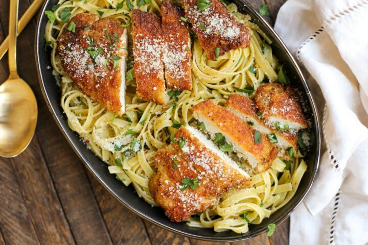 Chicken Romano with Fettuccine – Healthyish Foods