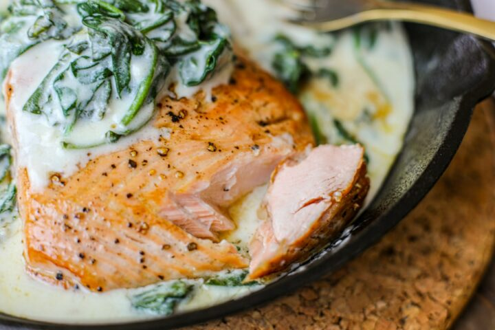 Seared Salmon with Creamy Spinach – Healthyish Foods