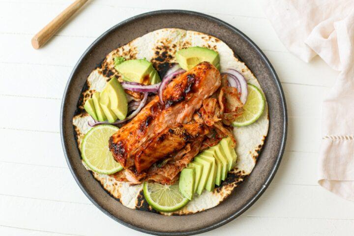 BBQ Salmon and Kimchi Tacos – Healthyish Foods