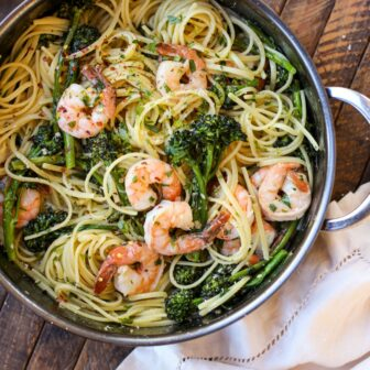 Shrimp Scampi with Linguini and Broccoli Rabe – Healthyish Foods