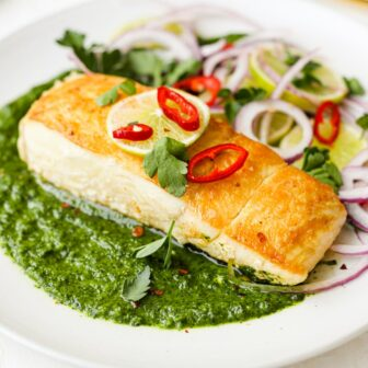 Pan Seared Halibut with Cilantro Lime Sauce