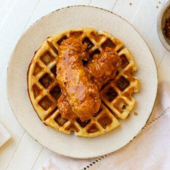 honey sriracha chicken and waffles