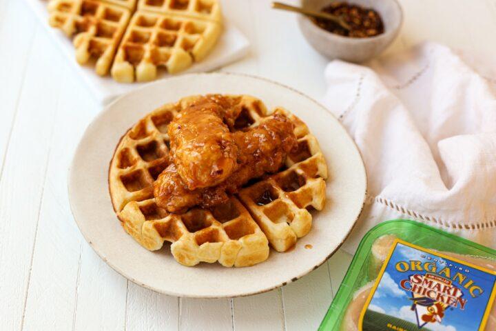 honey sriracha fried chicken and waffles