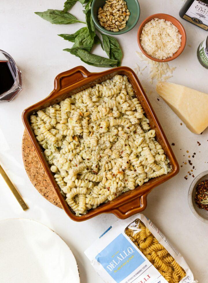 creamy pesto pasta bake