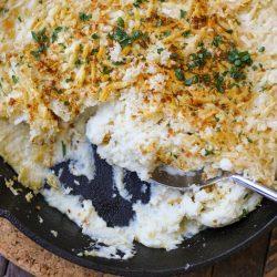 Parmesan Cauliflower Mash Gratin