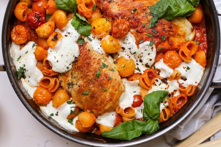 Caprese Pasta with Roasted Chicken – Healthyish Foods