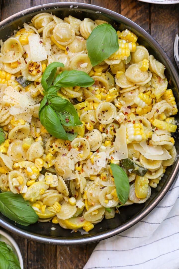 Summer Pasta with Zucchini, Squash and Corn
